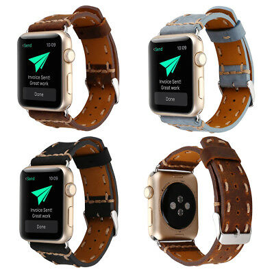 Replacement Genuine Leather Watch Strap Band for Apple Watch Series 3 / 2 / 1 US