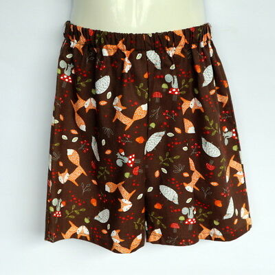 Woodland Fox print shorts - kids sizes 0 to 5 avail - retro, brown, animal