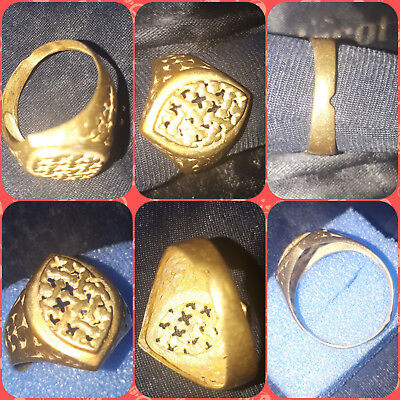 ** AMAZING ** Ancient Byzantine and Medieval bronze ** CROSS ** ring