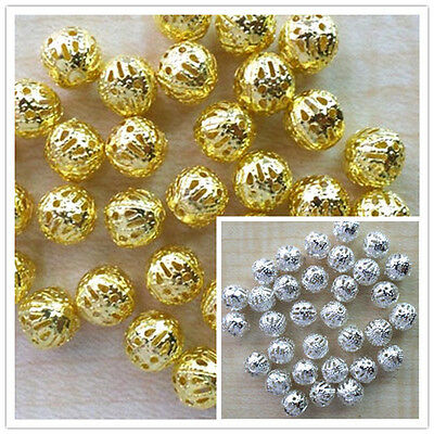 4/6/8mm Gold/Silver Plated Hollowed Filigree round ball spacer beads 200pcs