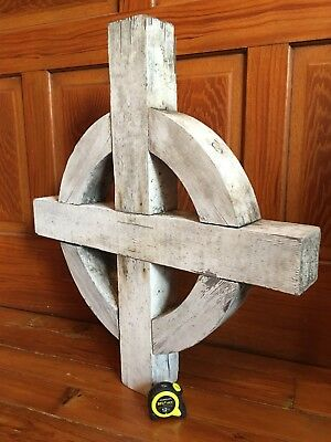 "Vtg Celtic Christian Latin Church Cross Solid Wood 29"" Sign Large"