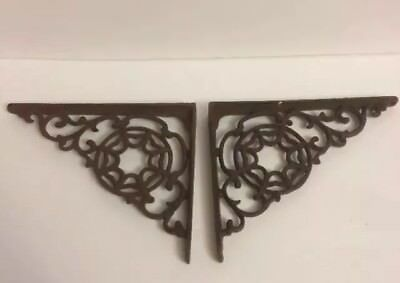 SALE: 2 Cast Iron Antique Style LARGE WEB Brackets, Garden Braces Shelf Bracket