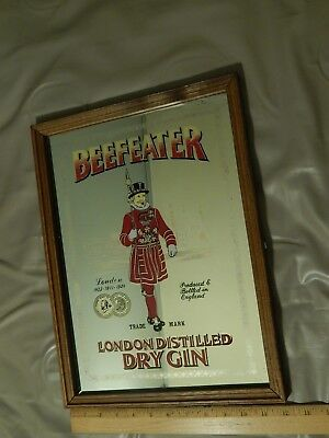 Beefeater ~ London Distilled Dry Gin ~ England UK [Wood Framed Mirror] WALL SIGN
