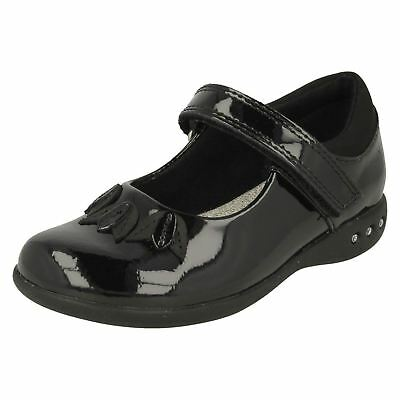 Clarks Girls Prime Step Black Patent Leather Smart Mary Jane Strap School Shoes