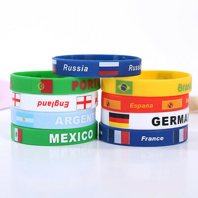 2018 World Cup Country Flag Silicone Bracelet Sporting Wrist Band Wristband WTI
