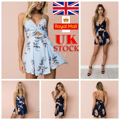 UK Womens Floral Backless Deep V Playsuit Summer Strappy Romper Short Jumpsuit