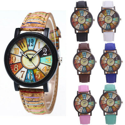 Womens Unisex Retro Casual Faux Leather Analog Quartz Watch Ladies Wrist Watches