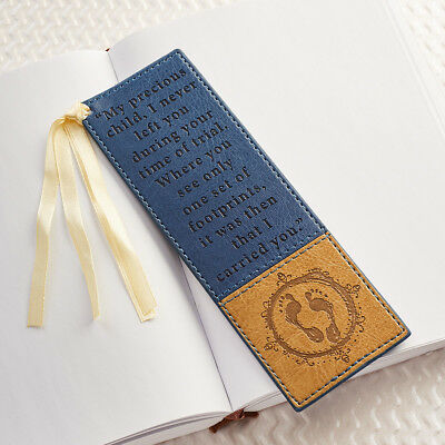 FOOTPRINTS Faux Leather Bookmark Page Marker Christian Bible