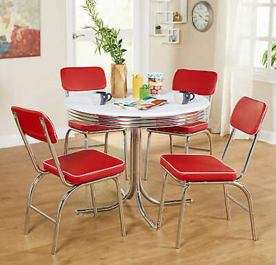 Retro Chrome Dining Chairs Vinyl Vintage 50's Diner Style Seats Red Set of 2