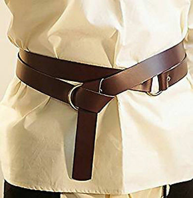 "LARP-Medieval-SCA-Reenactment-Viking LEATHER WRAP AROUND KNIGHTS BELT 1.5""wide"