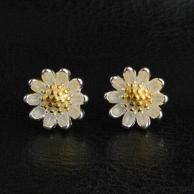 Uk Daisy Flower Stud 18K White Yellow Gold 925 Silver Ear Stud Earrings Lady