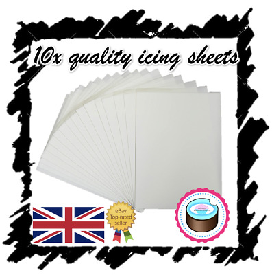 X10 Edible Icing Sheets For Printing, Decor Quality Plain Blank, A4 Icing Paper!