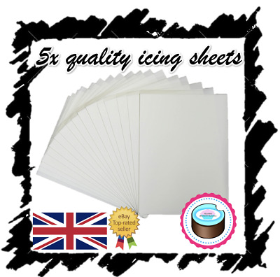 X5 Edible Icing Sheets For Printing, Decor Quality Plain Blank, A4 Icing Paper!