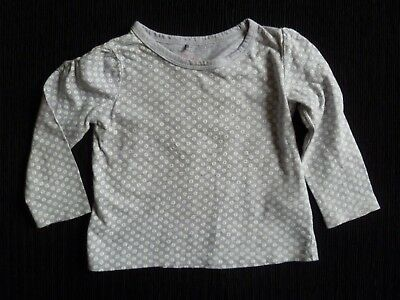 Baby clothes GIRL 18-24m 92cm grey/white spots/flowers long sleeve top SEE SHOP!