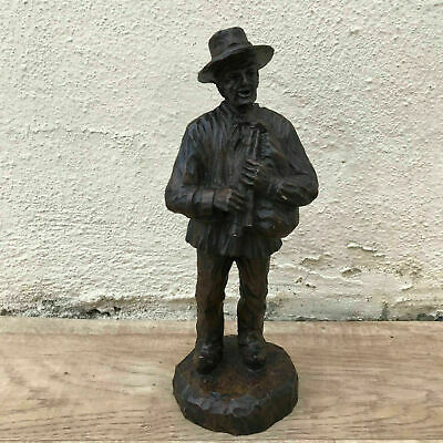 French Hand Carved Old Man Musician Wood From France 1008183