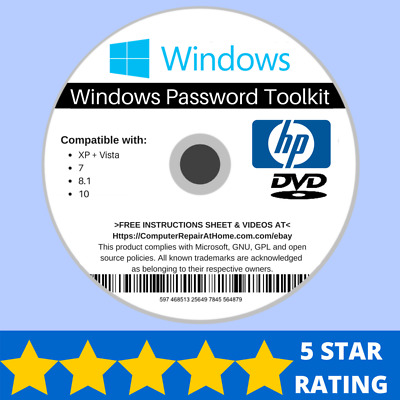 HP Password Reset Disk Recovery Password Removal Windows XP VISTA 7 8 10