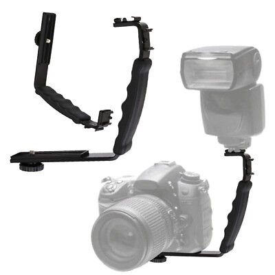 L-shaped Flash Bracket Heavy Duty Video Standard Hot Shoe Mount For DSLR Camera