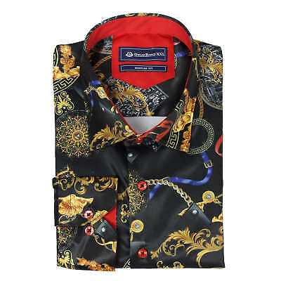 Oscar Banks Mens Black Gold Satin Silk Feel Designer Print Shirt Smart Casual