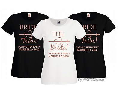 Hen Party T-Shirt Bride Tribe! Black - Rose Gold Text Option To Personalise Top