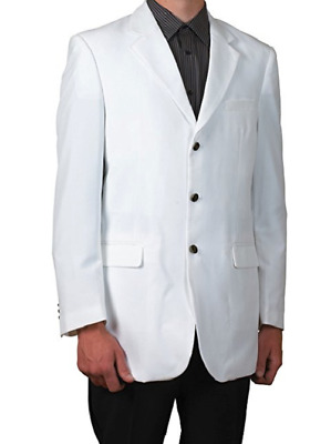Vittorio St.Angelo 3 Button Single Breasted Blazer Suit Jacket, White, 50L