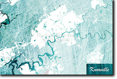 Knoxville, Tennessee, USA Map Poster Art Print - Blue Stroke - Photo Gift