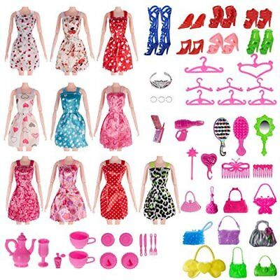 120 Pcs Doll Clothes Lot Party Gown Outfits Barbie Dress Accessories Bday Gift