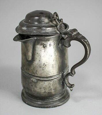Antique Georgian pewter quart 2 pint large beer tankard touch marks glass base