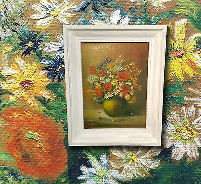Nice Old Flower Painting, Signed Willy Schulte 1947. Still Life Oil Painting