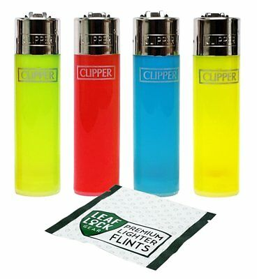 "Clipper ""Translucent Assorted"" Collection with Leaf Lock Gear Premium Flints"