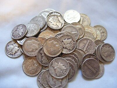 SILVER Mercury and Roosevelt Dimes (66 coins) 1964 or earlier