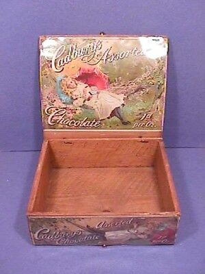 SCARCE Antique Vintage Cadbury's Chocolate Counter Box Wood Litho'd Labels c1910