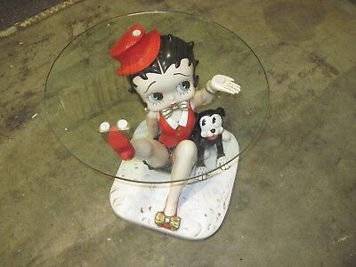 "Large Betty Boop 23"" Statue Figurine Figure End Coffee Table Glass Top"