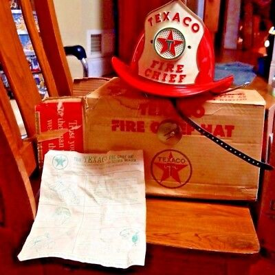 vintage 1960's TEXACO Fire Chief firemans toy HELMET HAT w/microphone & speaker