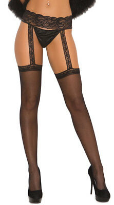 Sexy Sheer Black Garter Belt Over the Knee Thigh High Stockings & Lace Suspender
