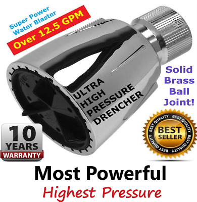 ULTRA HIGH PRESSURE SHOWER HEAD  ^ The Original Water Drencher  -  Over 12.5 GPM