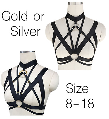 Womens Body Harness Bra Cage Adjustable Strappy Quality Bralette Gold Silver