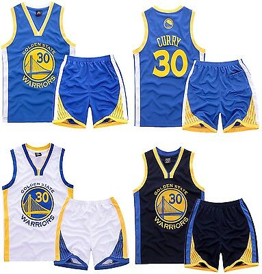 Kids Costume Unisex TEPHEN CURRY #30 Basketball Jersey&Short Set GOLDEN STATE