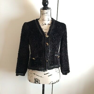St John Collection By Marie Gray Black Sparkle Career Evening Jacket FLAW Size P