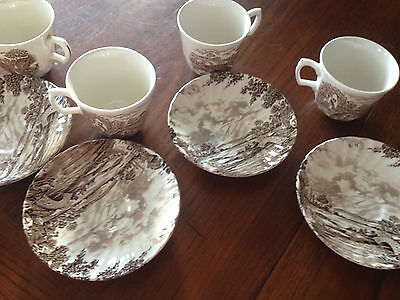 Vintage Ridgway Country Days Brown Teacups and Saucers x 4
