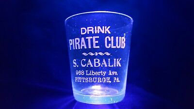 Pirate Club Pre - Prohibition Shot Glass Thin Wall S. Cabalik - Pittsburgh