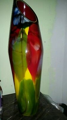 Thick & Heavy Multicolor Genuine Hand Blown Glass Art, Open Base one of a kind