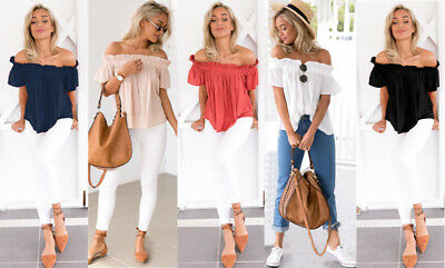 Womens Ladies Holiday Off Shoulder Casual Summer Tops T-Shirt Blouse  Plus Size