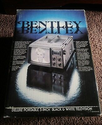 Vintage Bentley Deluxe Portable 5-Inch Black & White Television TV Model 100C