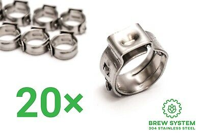 10 Stepless Clamps 6-10mm OD 304 Stainless Homebrew Beer Gas CO2 Oetiker Style