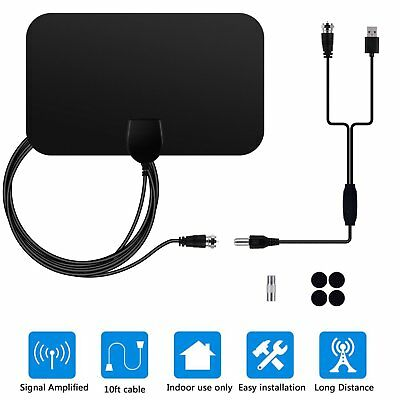 Flat Indoor HD Signal  Digital TV Antenna HDTV 50+ Miles Range VHF/UHF