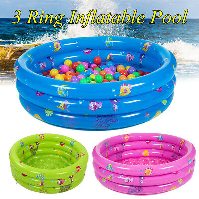 3 Ring Inflatable Round Swimming Pool Toddler Children Kids Outdoor Play Balls