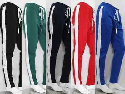 New Men's Track Pants With Side Taping Ankle Zip Stripe 5 Colors Size S-3Xl