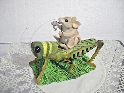 """Fun Dean Griff Charming Tails """"mouse On Grasshopper""""  89/321 Retired 1994"""