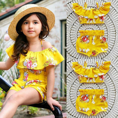 UK Stock Toddler Kids Girls Royal Floral Strap Tops Shorts Outfits Set Clothes