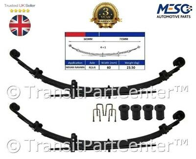 2 X Heavy Duty 4+1 =5 Leaf Spring Fits For Nissan Navara 4X4 D40 2.5 Dci 2005 On